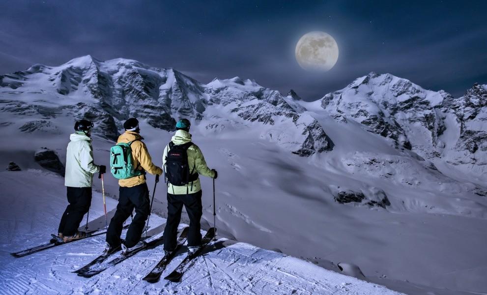 Skiën bij volle maan in Sankt Moritz