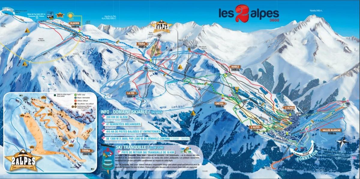 Pistekaart van Les Deux Alpes