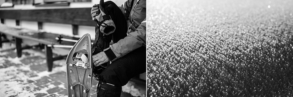 De schoenen moeten uit als je een cafeetje binnen gaat. Prachtig is het, die verse sneeuw. Eigen foto: Manja Herrebrugh, Snowerepublic