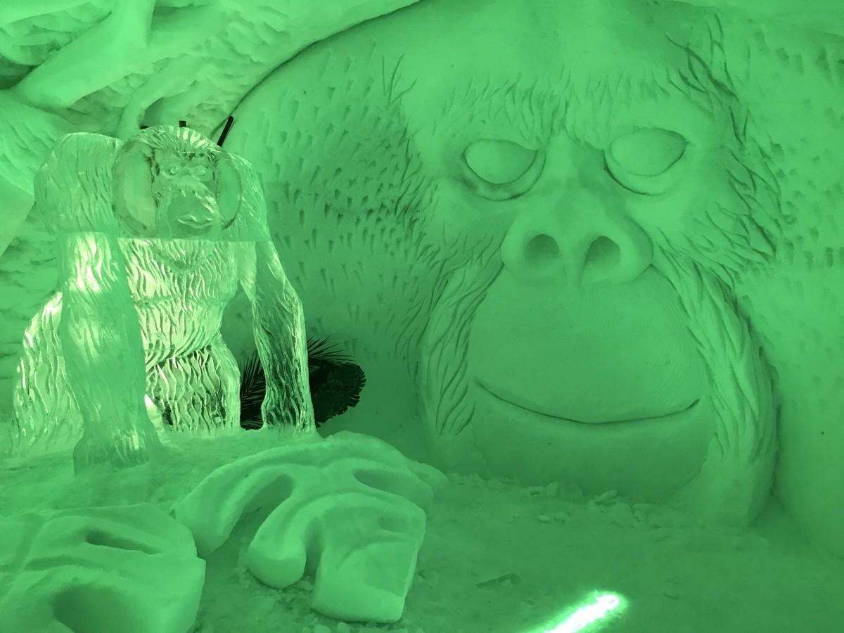 Waanzinnig, binnenin de iglo's hebben kunstenaars dagenlang aan prachtige kunstwerken van sneeuw en ijs gewerkt