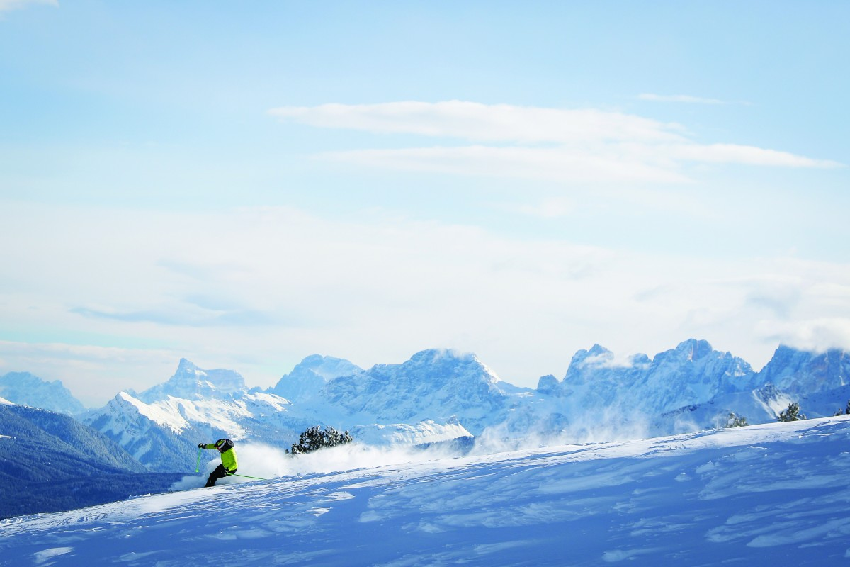 Skiën in een waanzinnig panorama. foto F. Modica