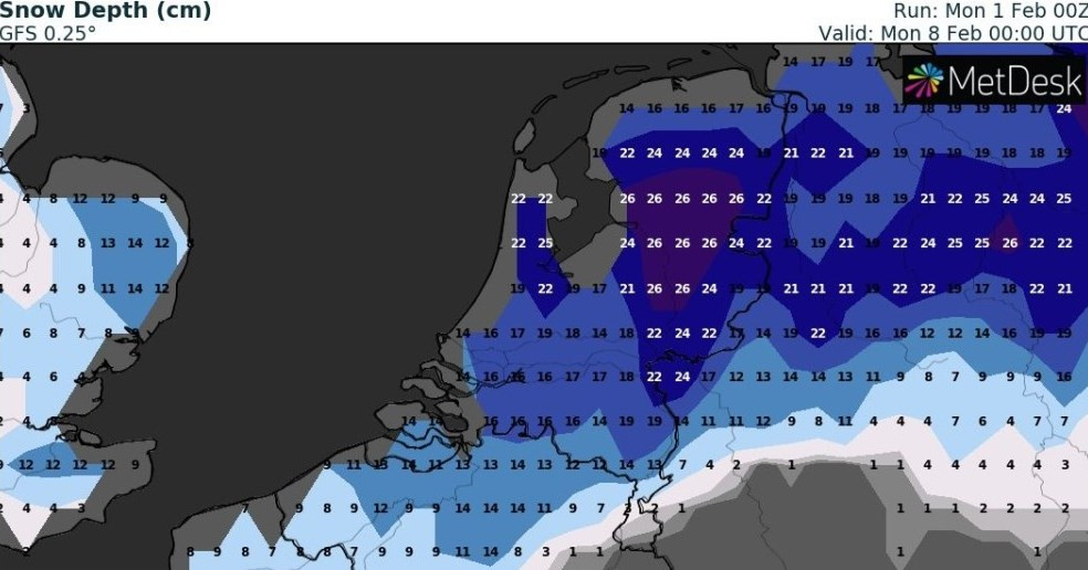 Nederland bak sneeuw